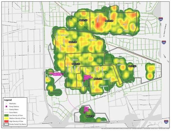 Smoke Testing Heat Map Depicting II Sources